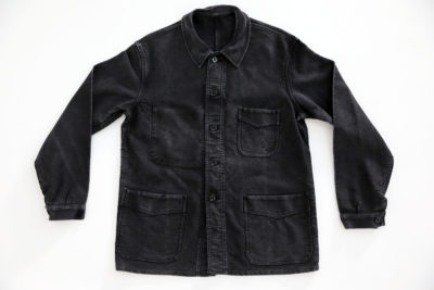 "1950's FRENCH BLACK MOLESKIN WORK JACKET ""ADOLPHE LAFONT"""