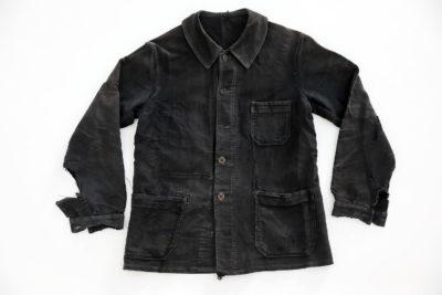 "1950's FRENCH BLACK MOLESKIN WORK JACKET ""PUBURE & PEVERCHÈRE"" PATCHED"