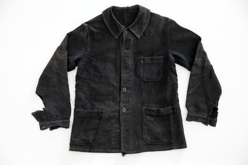 "1950's FRENCH BLACK MOLESKIN WORK JACKET ""PUBURE & PEVERCHÈRE"" PATCHED"