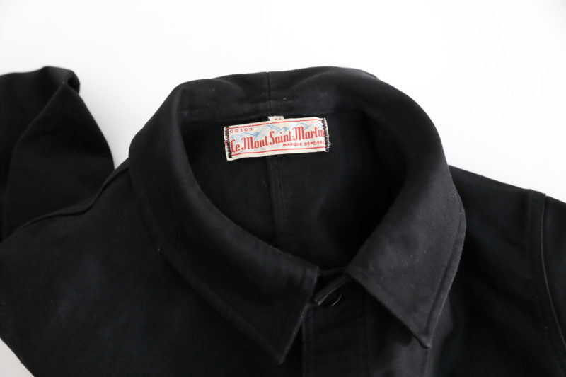 "1950's FRENCH BLACK MOLESKIN WORK JACKET "" LE MONT SAINT MARTIN """
